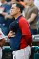 Jun 8, 2014; Detroit, MI, USA; Boston Red Sox manager John Farrell (53) during the national anthem before the game against the Detroit Tigers at Comerica Park. Mandatory Credit: Rick Osentoski-USA TODAY Sports
