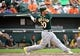 Jun 8, 2014; Baltimore, MD, USA; Oakland Athletics third baseman Josh Donaldson (20) bats in the eighth inning against the Baltimore Orioles at Oriole Park at Camden Yards. The Athletics defeated the Orioles 11-1. Mandatory Credit: Joy R. Absalon-USA TODAY Sports