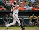 Jun 8, 2014; Baltimore, MD, USA; Baltimore Orioles second baseman Ryan Flaherty (3) bats in the eighth inning against the Oakland Athletics at Oriole Park at Camden Yards. The Athletics defeated the Orioles 11-1. Mandatory Credit: Joy R. Absalon-USA TODAY Sports