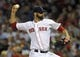 Jun 16, 2014; Boston, MA, USA; Boston Red Sox relief pitcher Burke Badenhop (35) pitches during the eighth inning against the Minnesota Twins at Fenway Park. Mandatory Credit: Bob DeChiara-USA TODAY Sports