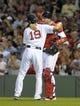 Jun 16, 2014; Boston, MA, USA; Boston Red Sox relief pitcher Koji Uehara (19) and catcher A.J. Pierzynski (40) celebrate after defeating the Minnesota Twins at Fenway Park. Mandatory Credit: Bob DeChiara-USA TODAY Sports