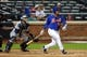 Jun 13, 2014; New York, NY, USA; New York Mets right fielder Bobby Abreu (53) hits an RBI single against the San Diego Padres during the fifth inning of a game at Citi Field. The Mets defeated the Padres 6-2. Mandatory Credit: Brad Penner-USA TODAY Sports