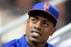 Jun 13, 2014; New York, NY, USA; New York Mets right fielder Curtis Granderson (3) looks on from the dugout during the fifth inning of a game against the San Diego Padres at Citi Field. The Mets defeated the Padres 6-2. Mandatory Credit: Brad Penner-USA TODAY Sports