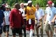 Jun 17, 2014; Ashburn, VA, USA; Washington Redskins quarterback Robert Griffin III (10) walks off the field after a minicamp session at Redskins Park. Mandatory Credit: Geoff Burke-USA TODAY Sports