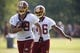 Jun 17, 2014; Ashburn, VA, USA; Washington Redskins running back Roy Helu (29) and Redskins running back Alfred Morris (46) participate in drills during minicamp at Redskins Park. Mandatory Credit: Geoff Burke-USA TODAY Sports