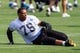Jun 17, 2014; Charlotte, NC, USA; Carolina Panthers defensive end Greg Hardy stretches during the minicamp held at the Carolina Panthers practice facility. Mandatory Credit: Jeremy Brevard-USA TODAY Sports
