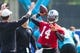 Jun 17, 2014; Charlotte, NC, USA; Carolina Panthers quarterback Joe Webb throws a pass during the minicamp held at the Carolina Panthers practice facility. Mandatory Credit: Jeremy Brevard-USA TODAY Sports