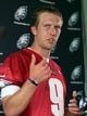 Jun 17, 2014; Philadelphia, PA, USA; Philadelphia Eagles quarterback Nick Foles (9) during a press conference at mini camp at the Philadelphia Eagles NovaCare Complex. Mandatory Credit: Bill Streicher-USA TODAY Sports