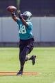 Jun 17, 2014; Charlotte, NC, USA; Carolina Panthers receiver Toney Clemons catches a pass during the minicamp held at the Carolina Panthers practice facility. Mandatory Credit: Jeremy Brevard-USA TODAY Sports
