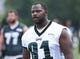 Jun 17, 2014; Philadelphia, PA, USA; Philadelphia Eagles defensive end Fletcher Cox (91) during mini camp at the Philadelphia Eagles NovaCare Complex. Mandatory Credit: Bill Streicher-USA TODAY Sports