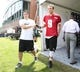 Jun 17, 2014; Philadelphia, PA, USA; Philadelphia Eagles quarterback Nick Foles (9) walks out of the interview tent at the conclusion of practice during mini camp at the Philadelphia Eagles NovaCare Complex. Mandatory Credit: Bill Streicher-USA TODAY Sports