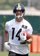 Jun 17, 2014; Pittsburgh, PA, USA; Pittsburgh Steelers receiver Derek Moye (14) participates in drills during minicamp at the UPMC Sports Performance Complex. Mandatory Credit: Charles LeClaire-USA TODAY Sports