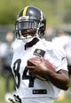 Jun 17, 2014; Pittsburgh, PA, USA; Pittsburgh Steelers receiver Antonio Brown (84) participates in drills during minicamp at the UPMC Sports Performance Complex. Mandatory Credit: Charles LeClaire-USA TODAY Sports