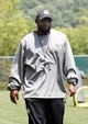 Jun 17, 2014; Pittsburgh, PA, USA; Pittsburgh Steelers head coach Mike Tomlin looks on during minicamp at the UPMC Sports Performance Complex. Mandatory Credit: Charles LeClaire-USA TODAY Sports