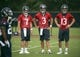 Jun 17, 2014; Houston, TX, USA; Houston Texans quarterbacks Case Keenum (7), Tom Savage (3), and T.J. Yates (13) stand together during mini camp at Houston Methodist Training Center. Mandatory Credit: Andrew Richardson-USA TODAY Sports