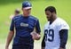 Jun 17, 2014; St. Louis, MO, USA; St. Louis Rams defensive lines coach Mike Waufle talks with defensive tackle Aaron Donald (99) during minicamp at Rams Park. Mandatory Credit: Jeff Curry-USA TODAY Sports