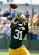 Jun 17, 2014; Green Bay, WI, USA; Green Bay Packers cornerback Davon House practice during the team's minicamp at Ray Nitschke Field. Mandatory Credit: Benny Sieu-USA TODAY Sports