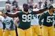 Jun 17, 2014; Green Bay, WI, USA; Green Bay Packers defensive tackle Leroy Guion stretches during the team's minicamp at Ray Nitschke Field. Mandatory Credit: Benny Sieu-USA TODAY Sports