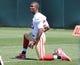 Jun 17, 2014; Santa Clara, CA, USA; San Francisco 49ers cornerback Chris Cook (22) stretches during minicamp at the 49ers practice facility. Mandatory Credit: Kelley L Cox-USA TODAY Sports