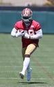 Jun 17, 2014; Santa Clara, CA, USA; San Francisco 49ers running back Carlos Hyde (28) during minicamp at the 49ers practice facility. Mandatory Credit: Kelley L Cox-USA TODAY Sports