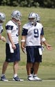 Jun 17, 2014; Dallas, TX, USA; Dallas Cowboys quarterback Brandon Weeden (3) talks with Tony Romo (9) during minicamp at Cowboys headquarters at Valley Ranch. Mandatory Credit: Matthew Emmons-USA TODAY Sports