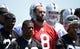 Jun 17, 2014; Alameda, CA, USA; Oakland Raiders quarterback Matt Schaub (8) at minicamp at Raiders Practice Facility. Mandatory Credit: Kirby Lee-USA TODAY Sports
