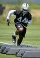 Jun 17, 2014; Alameda, CA, USA; Oakland Raiders linebacker Carlos Fields (44) at minicamp at Raiders Practice Facility. Mandatory Credit: Kirby Lee-USA TODAY Sports
