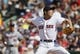 Jun 18, 2014; Boston, MA, USA; Boston Red Sox relief pitcher Koji Uehara (19) throws a pitch against the Minnesota Twins in the tenth inning at Fenway Park. Mandatory Credit: David Butler II-USA TODAY Sports
