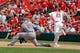 Jun 18, 2014; St. Louis, MO, USA; St. Louis Cardinals right fielder Allen Craig (21, right) is safe at first after hitting for a RBI single during the ninth inning against New York Mets first baseman Lucas Duda (21, left) at Busch Stadium. The Mets won 3-2. Mandatory Credit: Scott Kane-USA TODAY Sports