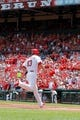 Jun 18, 2014; St. Louis, MO, USA; St. Louis Cardinals third baseman Matt Carpenter (13) crosses home plate after hitting a solo home run during the first inning against the New York Mets at Busch Stadium. The Mets won 3-2. Mandatory Credit: Scott Kane-USA TODAY Sports
