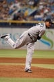 Jun 8, 2014; St. Petersburg, FL, USA; Seattle Mariners starting pitcher Felix Hernandez (34) throws a pitch against the Tampa Bay Rays at Tropicana Field. Mandatory Credit: Kim Klement-USA TODAY Sports