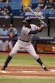 Jun 8, 2014; St. Petersburg, FL, USA; Seattle Mariners center fielder James Jones (99) at bat against the Tampa Bay Rays at Tropicana Field. Mandatory Credit: Kim Klement-USA TODAY Sports