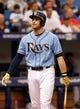 Jun 8, 2014; St. Petersburg, FL, USA; Tampa Bay Rays third baseman Evan Longoria (3) at bat against the Seattle Mariners at Tropicana Field. Mandatory Credit: Kim Klement-USA TODAY Sports