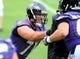 Jun 19, 2014; Baltimore, MD, USA; Baltimore Ravens offensive tackle Rick Wagner (71) blocks offensive tackle Brett Van Sloten (61) during minicamp at the Under Armour Performance Center. Mandatory Credit: Evan Habeeb-USA TODAY Sports