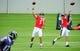 Jun 19, 2014; Baltimore, MD, USA; Baltimore Ravens quarterbacks Joe Flacco (5) and Keith Wenning (10) throw passes during minicamp at the Under Armour Performance Center. Mandatory Credit: Evan Habeeb-USA TODAY Sports