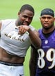 Jun 19, 2014; Baltimore, MD, USA; Baltimore Ravens wide receivers Torrey Smith (left) and Steve Smith, Sr. (right) walk off the field after minicamp at the Under Armour Performance Center. Mandatory Credit: Evan Habeeb-USA TODAY Sports