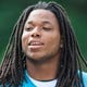 Jun 17, 2014; Charlotte, NC, USA; Carolina Panthers wide receiver Kelvin Benjamin walks to the practice field prior to the start of the minicamp held at the Carolina Panthers practice facility. Mandatory Credit: Jeremy Brevard-USA TODAY Sports