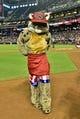 Jun 22, 2014; Phoenix, AZ, USA; Arizona Diamondbacks mascot D Baxter poses prior to the game against the San Francisco Giants at Chase Field. Mandatory Credit: Matt Kartozian-USA TODAY Sports