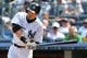Jun 22, 2014; Bronx, NY, USA;  New York Yankees right fielder Ichiro Suzuki (31) singles to left during the fifth inning against the Baltimore Orioles at Yankee Stadium. Baltimore Orioles won 8-0. Mandatory Credit: Anthony Gruppuso-USA TODAY Sports