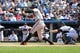 Jun 22, 2014; Bronx, NY, USA;  Baltimore Orioles second baseman Jonathan Schoop (6) grounds out to the shortstop allowing a runner to score during the seventh inning against the New York Yankees at Yankee Stadium. Baltimore Orioles won 8-0. Mandatory Credit: Anthony Gruppuso-USA TODAY Sports