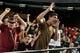Jun 22, 2014; Phoenix, AZ, USA; Arizona Diamondbacks fans react during the sixth inning against the San Francisco Giants at Chase Field. Mandatory Credit: Matt Kartozian-USA TODAY Sports