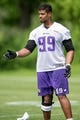 Jun 17, 2014; Eden Prairie, MN, USA; Minnesota Vikings defensive end Corey Wootton (99) works with a coach after practice at Winter Park. Mandatory Credit: Bruce Kluckhohn-USA TODAY Sports