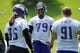 Jun 17, 2014; Eden Prairie, MN, USA; Minnesota Vikings defensive tackle Kheeston Randall (79) talks with a teammate at practice at Winter Park. Mandatory Credit: Bruce Kluckhohn-USA TODAY Sports
