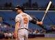 Jun 17, 2014; St. Petersburg, FL, USA; Baltimore Orioles first baseman Chris Davis (19) at bat against the Tampa Bay Rays at Tropicana Field. Mandatory Credit: Kim Klement-USA TODAY Sports