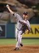Jun 24, 2014; Anaheim, CA, USA; Minnesota Twins reliever Matt Guerrier (54) delivers a pitch in the eighth inning against the Los Angeles Angels at Angel Stadium of Anaheim. The Angels defeated the Twins 8-6. Mandatory Credit: Kirby Lee-USA TODAY Sports