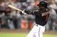 Jun 21, 2014; Phoenix, AZ, USA; Arizona Diamondbacks shortstop Didi Gregorius (1) bats against the San Francisco Giants at Chase Field. The Giants won 6-4. Mandatory Credit: Joe Camporeale-USA TODAY Sports
