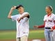 Jun 16, 2014; Boston, MA, USA; US Marine Corps veteran Art Miller throws out a ceremonial pitch prior to a game between the Boston Red Sox and Minnesota Twins at Fenway Park. Mandatory Credit: Bob DeChiara-USA TODAY Sports