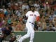 Jun 17, 2014; Boston, MA, USA; Boston Red Sox designated hitter David Ortiz (34) reacts after fouling off a pitch during the sixth inning against the Minnesota Twins at Fenway Park. Mandatory Credit: Bob DeChiara-USA TODAY Sports