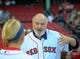Jun 16, 2014; Boston, MA, USA; American actor Rob Reiner talks to a Fenway Park employee prior to throwing out the first pitch in a game between the Boston Red Sox and Minnesota Twins at Fenway Park. Mandatory Credit: Bob DeChiara-USA TODAY Sports