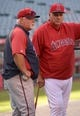 Jun 24, 2014; Anaheim, CA, USA; Minnesota Twins manager Ron Gardenhire (left) and Los Angeles Angels manager Mike Scioscia before the game at Angel Stadium of Anaheim. Mandatory Credit: Kirby Lee-USA TODAY Sports